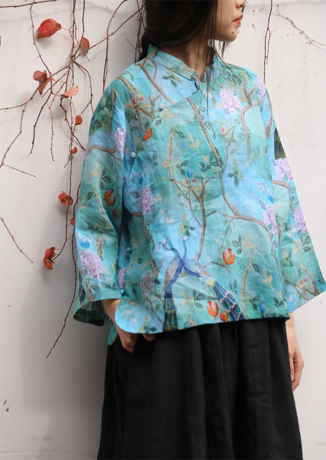 Summer New Vintage Floral Peacock Print Stand Collar Beads Button Linen Shirt Traditional Elegant Ladies Loose