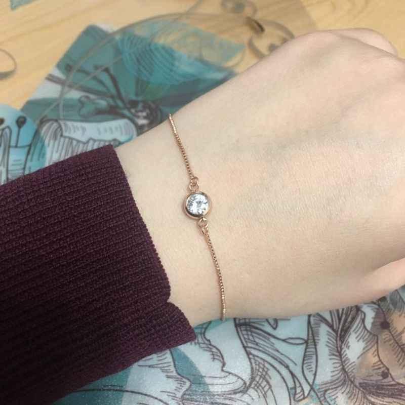 MIGGA simple cubique zircone cristal Bracelet chaîne Rose blanc or couleur mode femmes dames bijoux