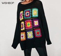 WISHBOP Otoño 2017 mujer negro de gran tamaño suéter de punto multicolor  cuadriculado crochet frente cuello redondo mangas largas 30a20f9d3ae6