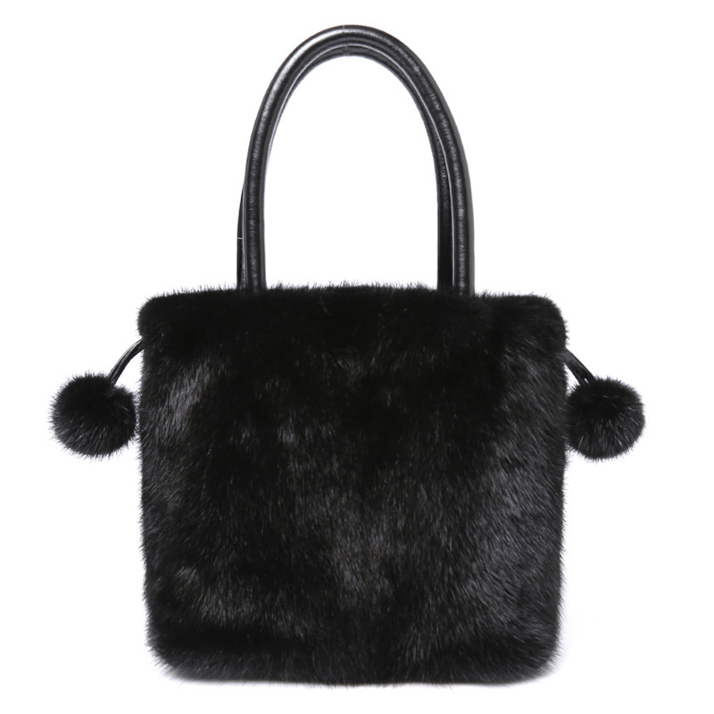 New Arrival Women Real Mink Fur Handbag Luxry Real Fur Flap Ladies Crossbody Bags Female Bags For Lady Fur Shoulder Bag