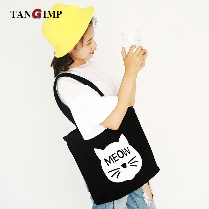 2016 Cute MEOW Cat Cotton Canvas Handbag Bags / Women Girls Eco Reusable Shoulder Shopping Tote 41*42.5cm opvouwbare tas