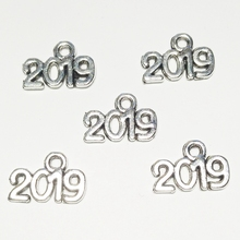 XKXLHJ 15pcs Antique Silver Letter Charms 2019 Digital Pendant New Year Jewelry Handmade For making Earrings Bracelet Keychain