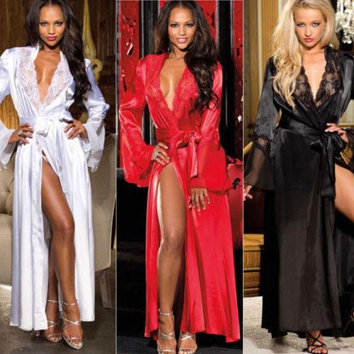 Women\'S Robe Dress Satin Silk Long Sleeve Lace Sleepwear Nightdress Lingerie Night Dress Women Nightgrown