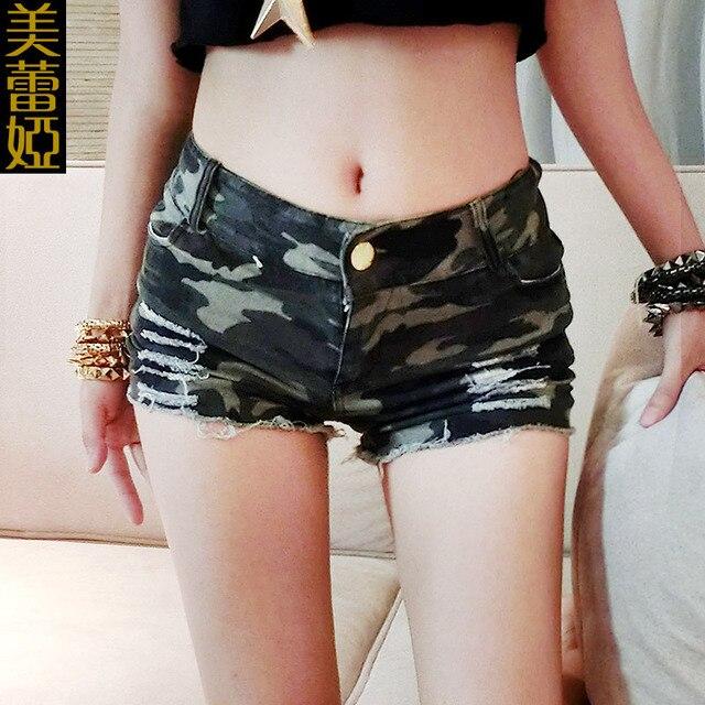 2016 mujeres del verano mujer de talle alto pantalones cortos bottoms femme mujer sexy camuflaje booty shorts señora caliente pantalones cortos de talle alto