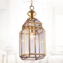 Медный Подвесной светильник В миланском стиле, 1 шт., стеклянный абажур, подвесной светильник для магазина, светильник E27, промышленный светильник для сельского коридора, Кухонный Светильник
