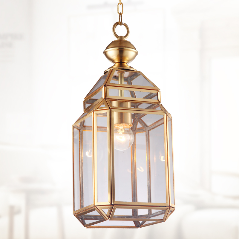 Milan style Copper pendant lamp Yard 1 pcs glass shade pendant light shopcase light E27 industrial Rural Corridor Kitchen Light-in Pendant Lights from Lights & Lighting    1