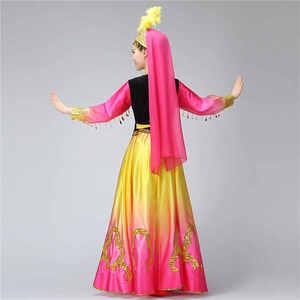 Image 5 - Синьцзянские костюмы, Национальный костюм, открытая юбка качели, уйгурская танцевальная одежда, Женская танцевальная юбка, квадратный костюм