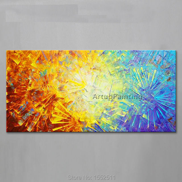 Hand Painted Palette Knife Flowers Oil Painting Wall Art Canvas ...