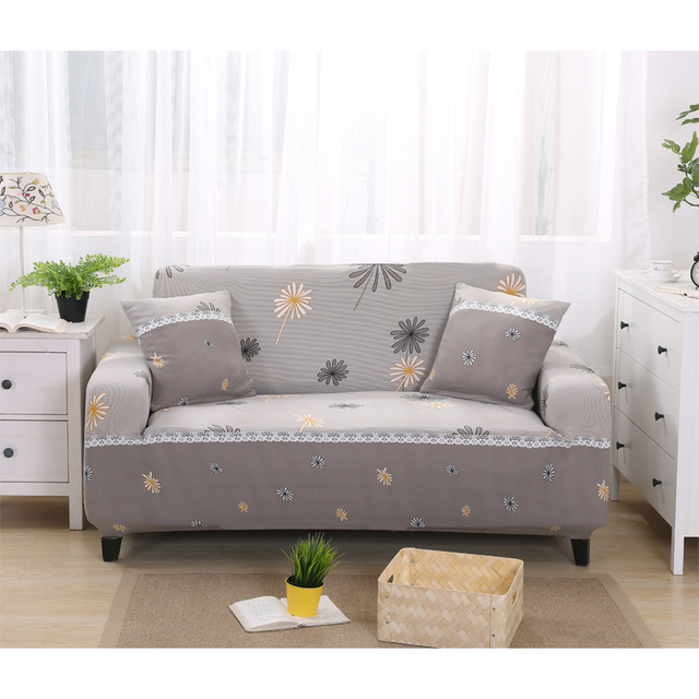 Spandex Sofa Covers Elastic Gray Printed Slipcovers Stretch Furniture Protector Cover For
