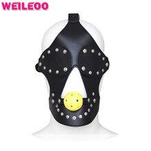 Кожа секс маска с завязанными глазами полые кляп-расширитель мяч фетиш взрослых раб игры эротические садо секс-игрушки для пары