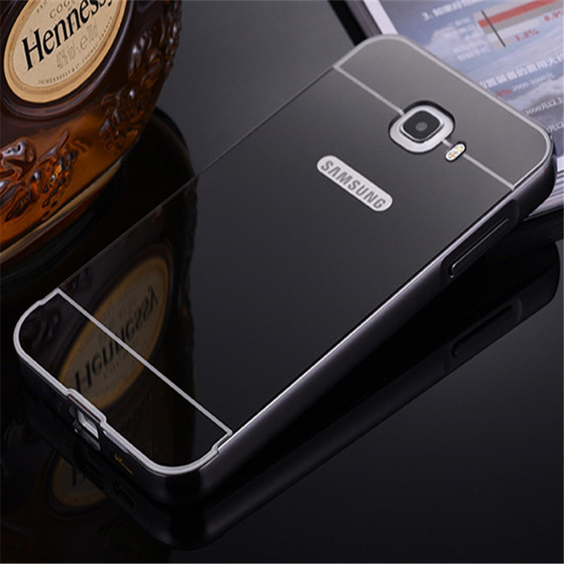 For Samsung J7 prime Case Plating Mirror Aluminum Metal Frame +Hard PC Back Cover Phone Case For Samsung J7prime ON7 2016