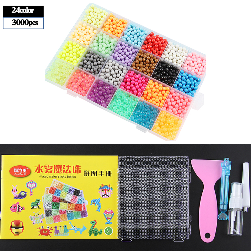 5200pcs 24 Colors Refill Beads Puzzle Crystal Beads DIY Water Spray Set Ball Games 3D Handmade Magic Toys For Children