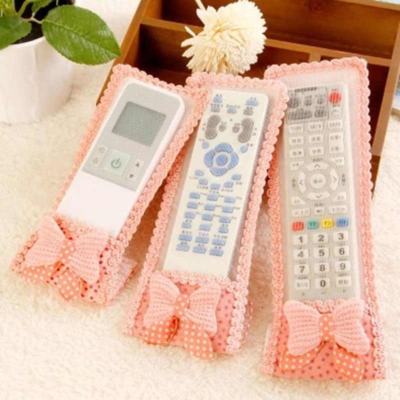 3 Ukuran Ikatan Simpul Cute Desain Tahan Debu TV Remote Control Kasus Air Kondisi Remote Control Cover Tekstil Tas Pelindung V269