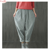 Women Winter Warm Cotton Flannel Thicken Wide Leg Pants Chunky Corduroy Comfortable Loose Pants Trousers