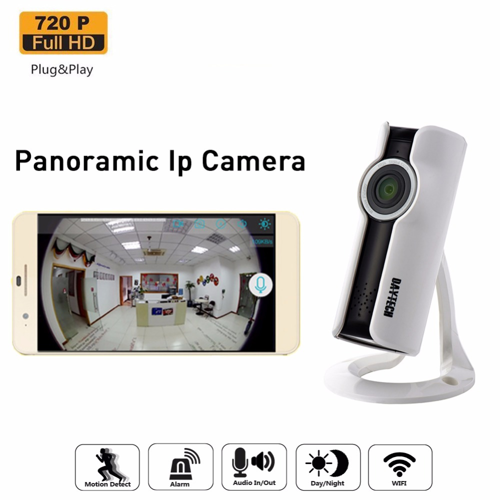 Daytech Wifi Camera IP Camera 720P Home Security Panoramic Night Vision Baby Monitor P2P Two Way Audio Network Monitor APP daytech ip panoramic camera wifi 720p hd home security wireless network video baby monitor p2p two way audio night vision ir 180