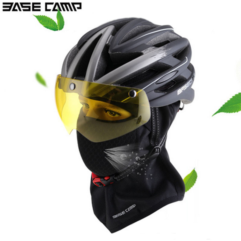 Winter Cycle Ski Helmet Electric Motorcycle Safety Helmet Yellow lens With Bicycle Warmer Mask Cap Activated carbon filter Cap motorcycle thermal fleece balaclava neck winter ski full face mask cap cover