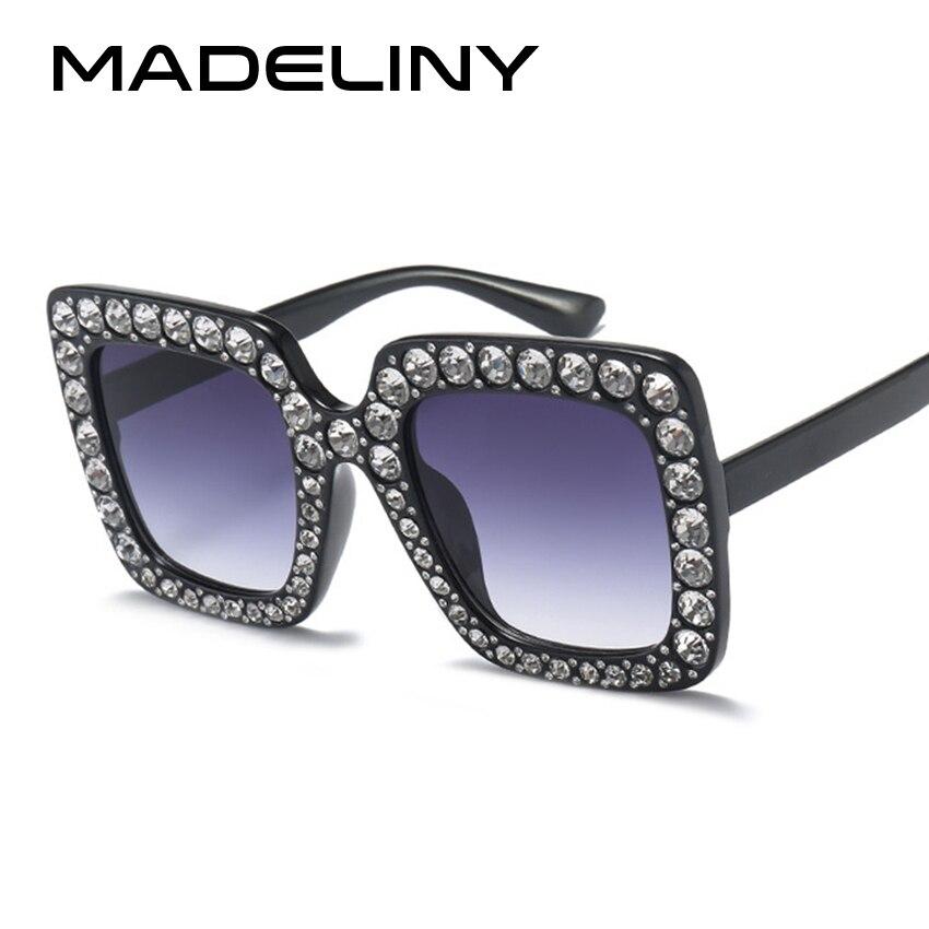 MADELINY 2017 Fashion Women Square Sunglasses Brand Designer Luxury rhinestone Sun Glasses High Quality Shades Oculos MA282