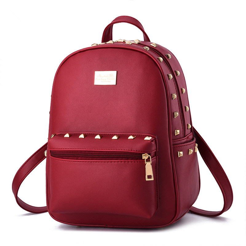 Red Casual PU Women Backpacks Traveling Bag Schoolbag Rivets Decoration Adjustable Straps Zipper