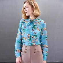 цена на 100% Silk Print Bow Long Sleeve Straight Blouse 2019 New Women Spring Summer Office Lady Work Single Breasted Shirts