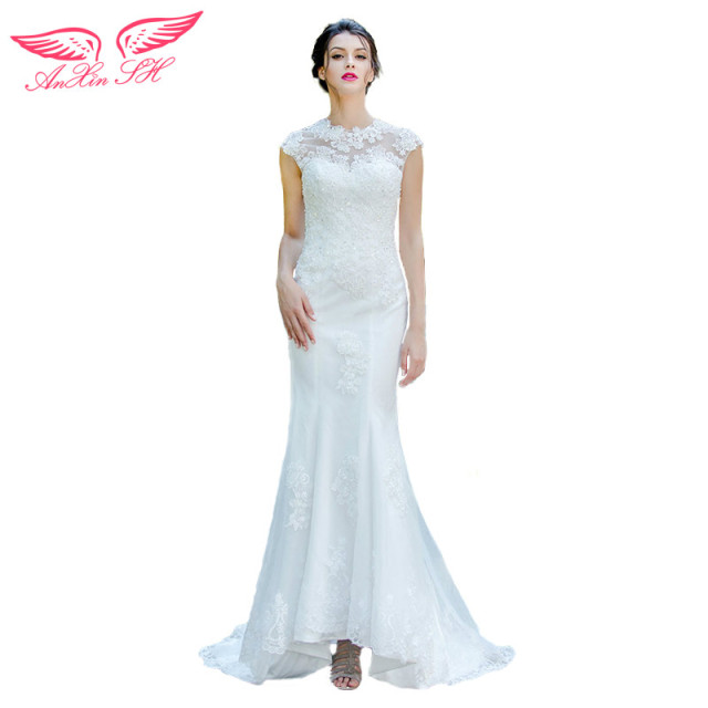 AnXin SH slim lace princess bride wedding dress Flower lace mermaid ...