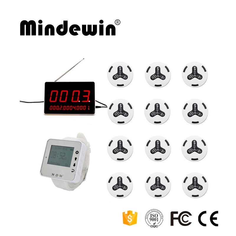 Mindewin New Restaurant Wireless Table Bell System Food Restaurant Call 1 Wrist Watch + 1 LED Display + 12 Calling Button Pagers ...