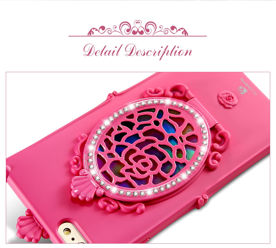 Makeup Mirror Case For iPhone 7 6 6S Plus Cases Glitter Rhinestone Kickstand Cover  (5)