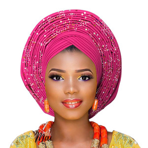 Image 5 - 2018 ใหม่ล่าสุด aso oke tie สีม่วงไนจีเรียแล้ว made สามารถสวมใส่โดยตรง headtie