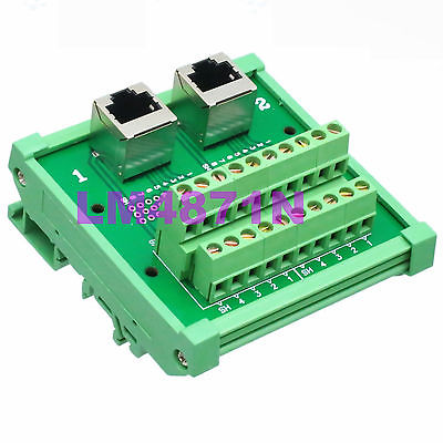 Hot Factory Direct Wholesale 1pce Dual RJ45 Ethernet female jack Terminal Breakout DIN Rail Mounting Carrier hot factory direct wholesale idc40 male plug 40pin port header terminal breakout pcb board block 2 row screw