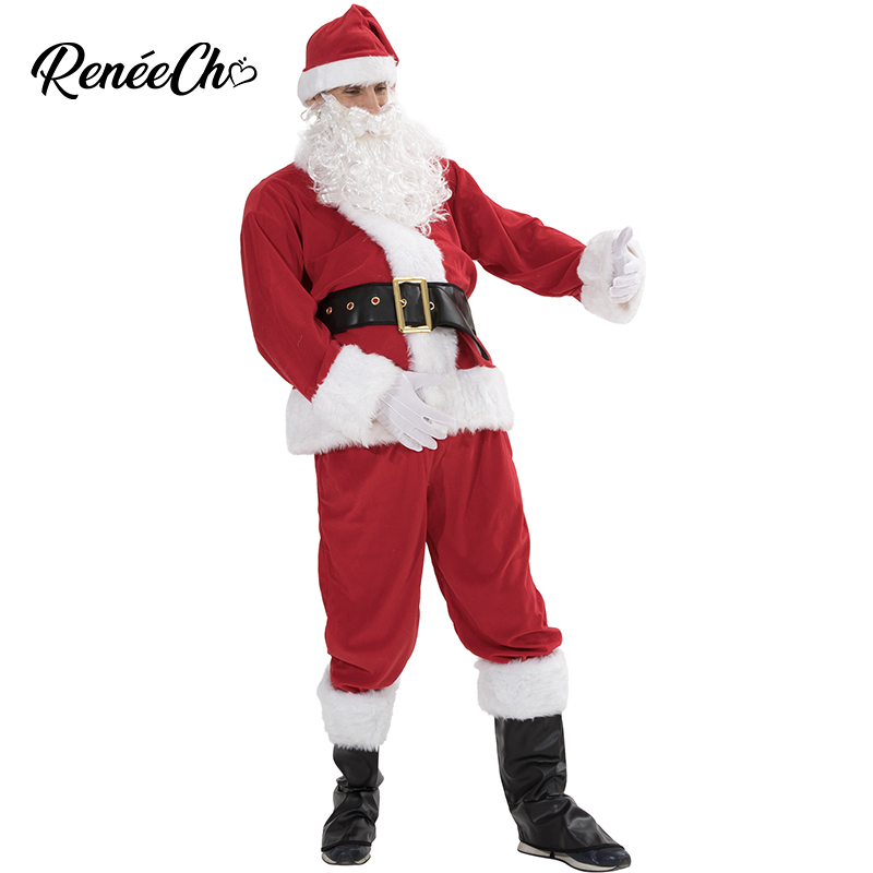 Plus Size Christmas Costume Men thickness Adult Santa Claus Costume 6pcs luxury Large Xmas Merry Christmas Suit For Father