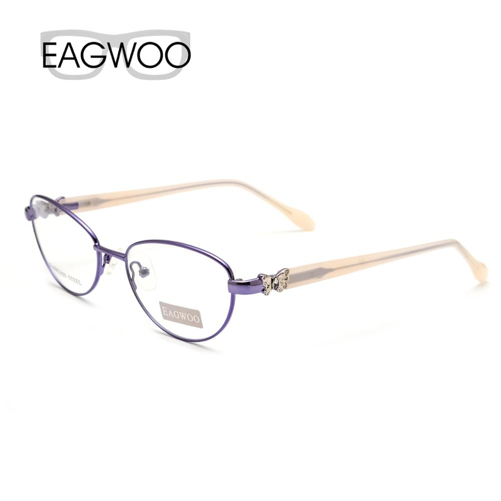 EAGWOO Women Cat Eye Designed Diamond Eyeglasses Full Rim Optical Frame Prescription Eye Glasses Butterfly Red Temple 7805