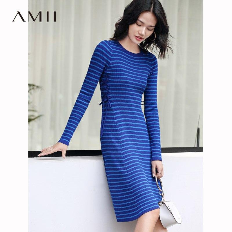 Amii Women Minimalist 2018 Autumn Dress Chic Knitted Striped Bandage Slim Female Dresses