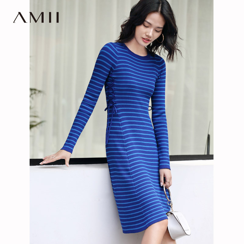 Amii femmes minimaliste 2018 automne robe Chic tricoté rayé Bandage Slim femmes robes-in Robes from Mode Femme et Accessoires on AliExpress - 11.11_Double 11_Singles' Day 1