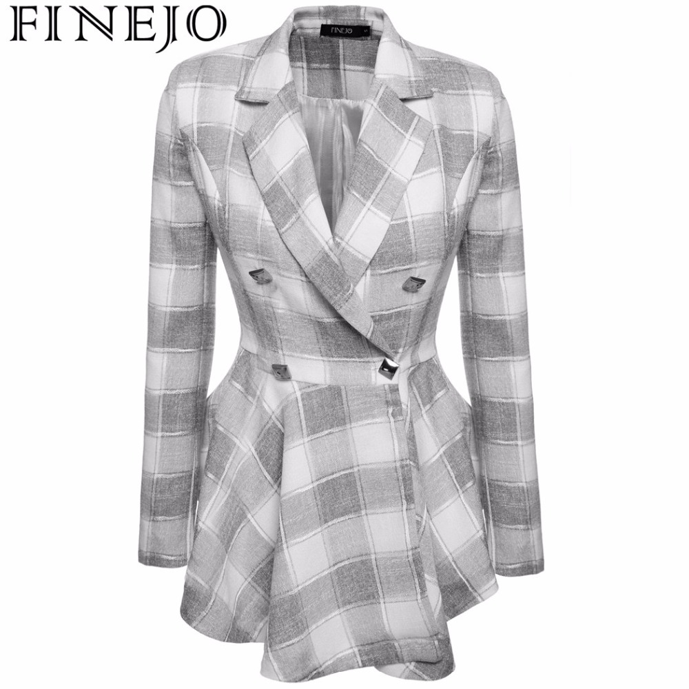 FINEJO Spring autumn high fashion trend street women's Plaid Double-Breasted Flouncing Trench Coat Casual Outerwear S-XXL