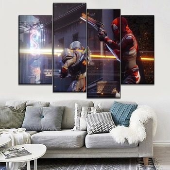 4 Panel Modular Style Art Large Canvas HD Print Destiny 2 Gameplay Poster Wall Home Decor Living Room Unique Gift Wall Picture image