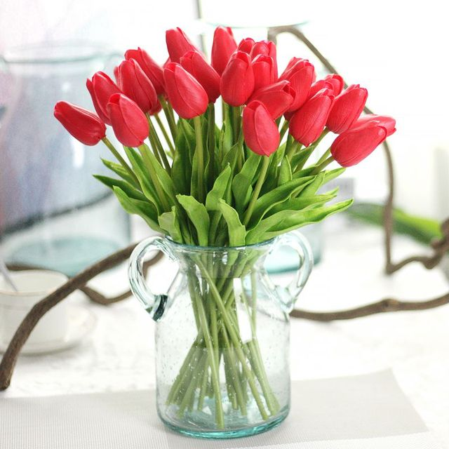 1 Pcs 10 Color Mini Artificial Pu Tulip Flowers Wedding Bouquet For Home Decoration Decorative