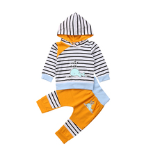 2pcs Toddler Baby Boy Girl Striped Long Sleeve Hooded Sweater Dolphin Tops Pants Outfits Set Clothes 2019 цена и фото