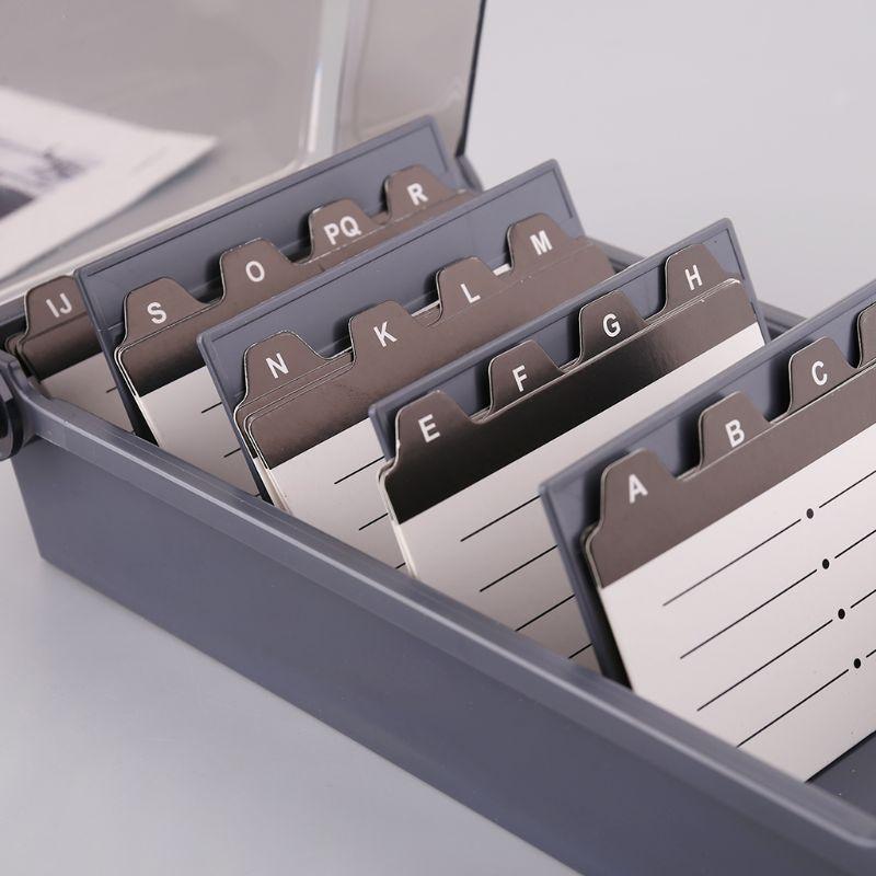 5 Grid Black Buniess Card Box Large Capacity Splitter Index Tabs Business Card Holder Name Card Storage Box Organizer Case