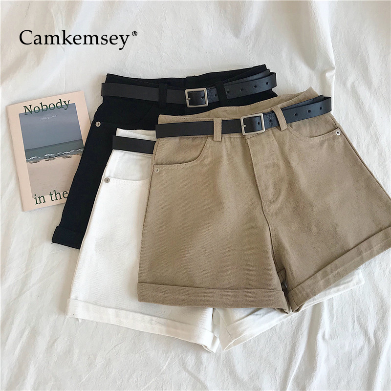 CamKemsey Classic Cuffed High Waist Denim   Shorts   Women 2019 New Korean Summer Style Casual Sashes Wide Leg Cargo   Shorts