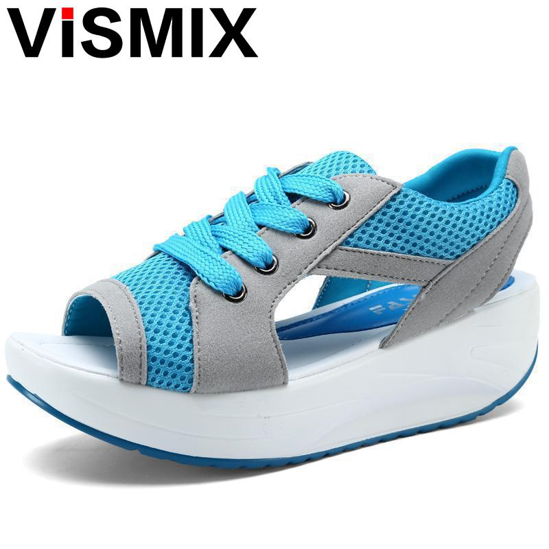 VISMIX 2017 Fashion Summer Women's Sandals Casual Mesh Breathable Shoes Women Ladies Wedges Sandals Lace Platform Sandalias minika women sandals summer shoes breathable lace flats platform wedges lose weight creepers summer sandals cd41