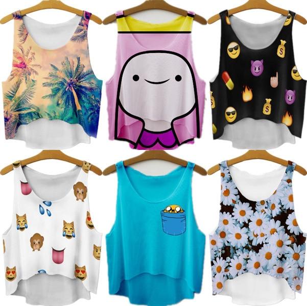 bbf5a060b155f 2015 New summer style short crop top Women cartoon 3D printed tank top plus  size vest tank top cheap price crop tops