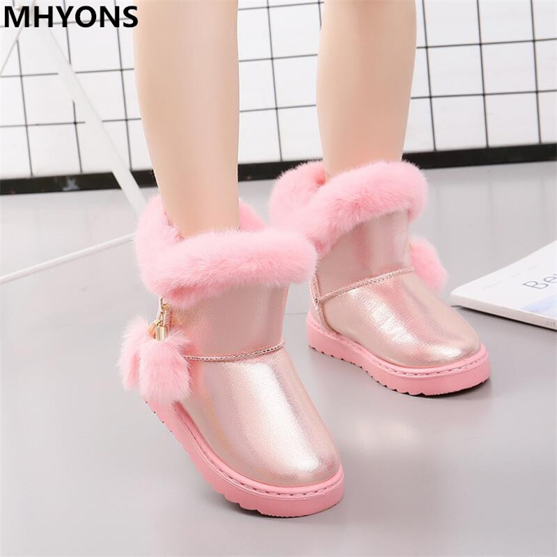 MHYONS 2019 New Winter Girls boots children Boots rubber non-slip outdoor snow Boots fur warm big virgin Girls boots