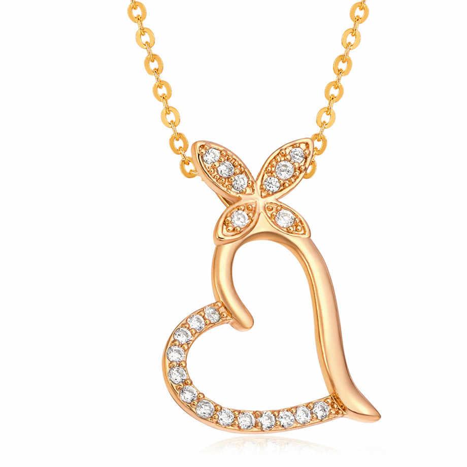 Hợp thời trang Cubic Zirconia Bướm Tim Vòng Cổ Mặt Dây Chuyền Phụ Nữ Vàng Màu Cổ Chain Đối Với Phụ Nữ Đồ Trang Sức chocker 2018