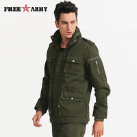 Mens Green Military Jacket Winter Cargo Plus Size M 4XL Casual Man Jackets Solid Zipper Slim