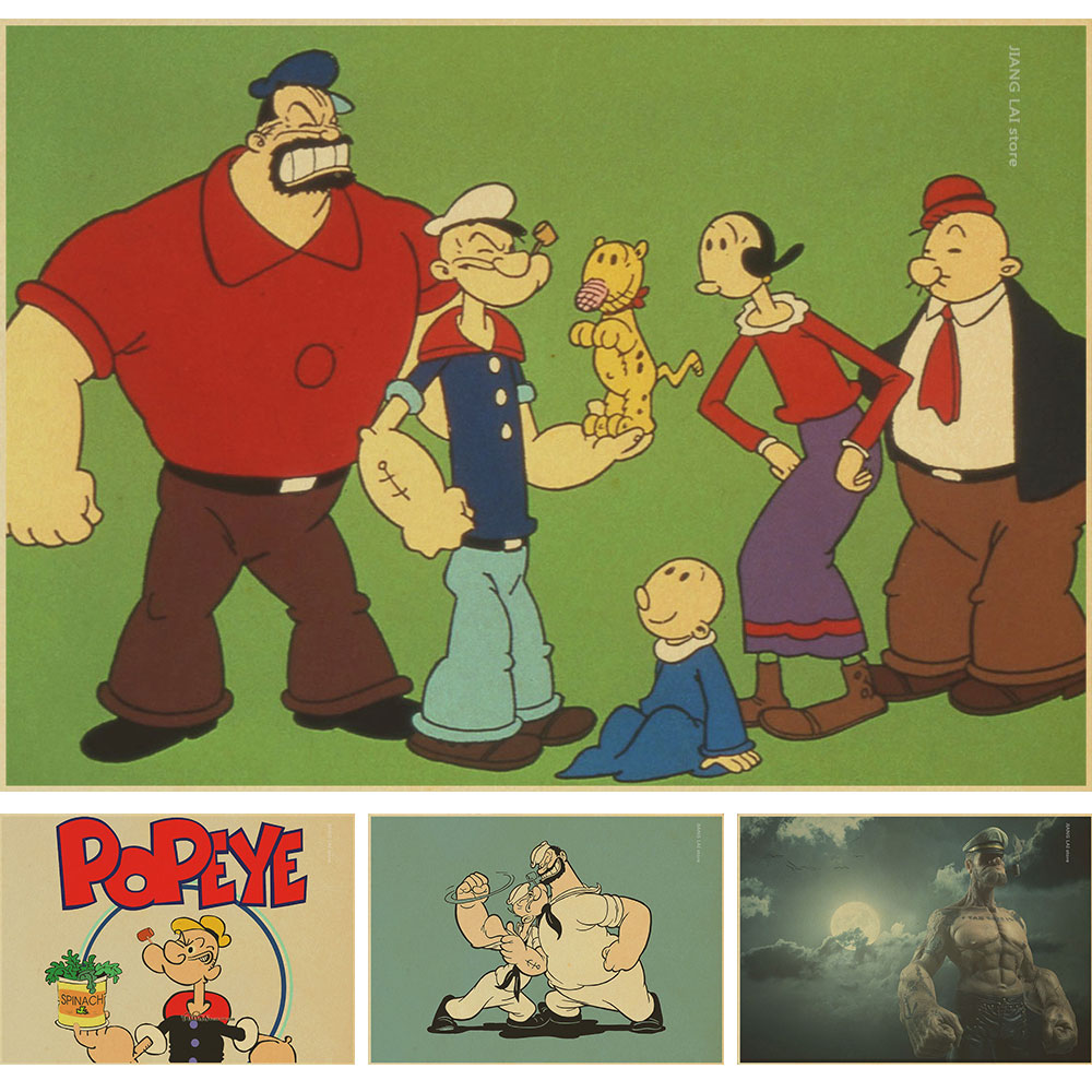 popular movie crat retro Poster Popeye the Sailor man Vintage Style Retro Paper Poster Good Gifts for bar club decorattion