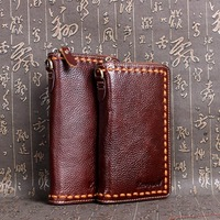 Real Genuine Leather Men wallet first layer leather clutch bag card holder Cowhide vintage long wallet male fashion purse