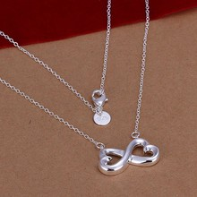 Silver Necklace Pendant,925 jewelry silver plated Necklace 8-Shaped Necklace N148 /YIFFJLOK GHRABYOX