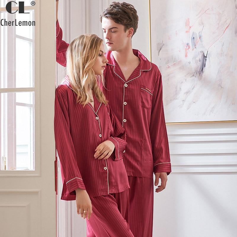 CherLemon Autumn Couple Wedding Pajamas Premium Silky Satin Sleepwear Women and Mens Long Sleeve Nightwear Striped Pyjama Set