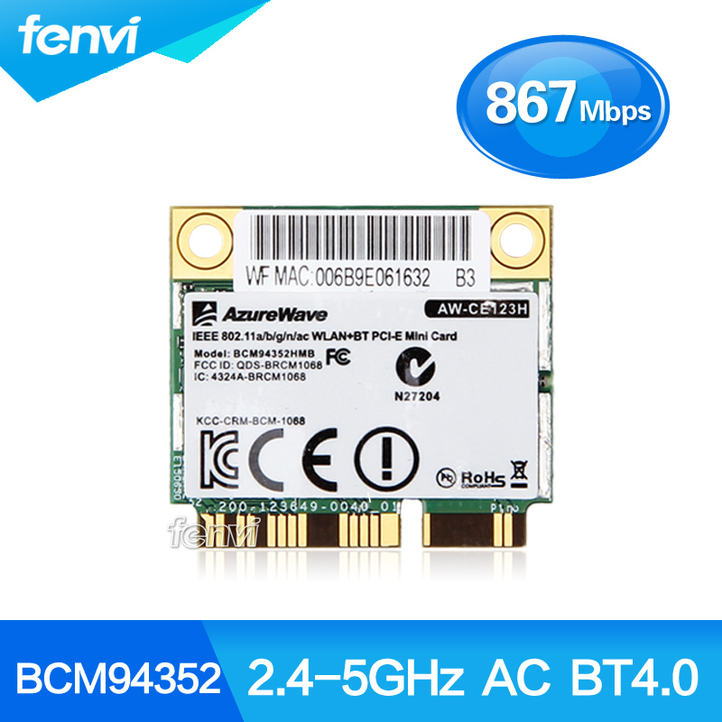 AzureWave Broadcom BCM94352HMB 802.11ac 867Mbps Wireless-AC WLAN+Bluetooth BT 4.0 Half Mini PCI-E Wireless Wifi card AW-CE123H