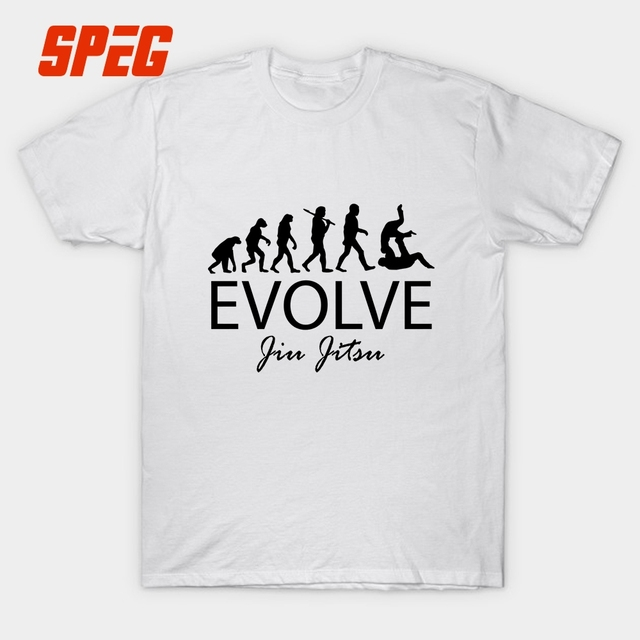 a9ff870a6 SPEG Evolve Brazilian Jiu Jitsu Bjj Evolution Taekwondo Funny T Shirt Judo  Men Short Sleeve 100