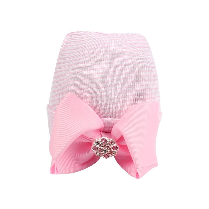 Cute Bow Girls Hat Bumbac Pink Fata Baby Caps Panglică Rochie Cap cu - Haine bebeluși